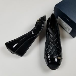 New COLE HAAN patent leather open toe wedge pumps